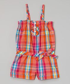 This Nautica Melon & Red Plaid Romper - Girls by Nautica is perfect! #zulilyfinds