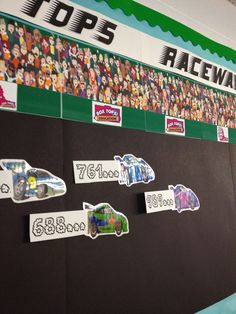 Detail of Box Tops Raceway bulletin board ... I found a smoke font to display the number of box tops for education each class has submitted.