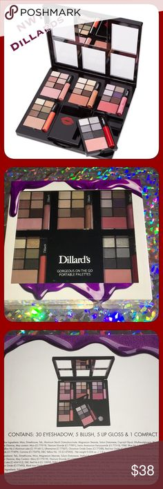 NWT Dillards Gorgeous On The Go Makeup Set! Great Christmas Gift! Box never opened! NWT! Includes interchangeable compact with 5 different pallets!! 30 eyeshadow, 5 blushes, 5 lip glosses, 1 compact! Dillards Makeup