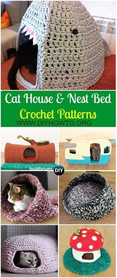 Collection of Crochet Cat House & Nest Bed Patterns: Crochet Pet Bed, Pet House, Cat Bed, Nest Ped, Little dog house #Nest