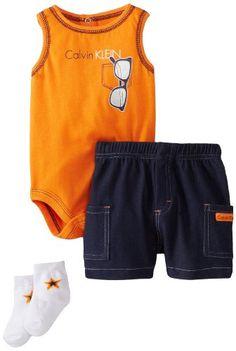 8178cfa98 Calvin Klein Baby-Boys Newborn Creeper with Cargo Shorts and Socks