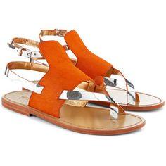 Sanchita Orange Pony Hair Sosai Sandals