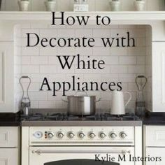 Kitchen Ideas : Decorating with White Appliances / Painted Cabinets - Kylie M Interiors. Learn tips and ideas to coordinate your white appliances with your kitchen countertops, backsplash and cabinets White Kitchen Appliances, Kitchen Appliance Storage, White Kitchen Cabinets, Kitchen Cabinetry, Kitchen Redo, Kitchen Ideas, Kitchen Makeovers, Kitchen Paint, Kitchen Inspiration