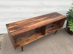 Solid Walnut Record Cabinet / Record Player Stand / TV Table Media Table / Mid Century Modern
