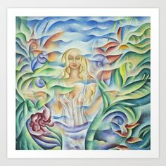 Art print of Flower Goddess - Oil Painting by Monique Rebelle.