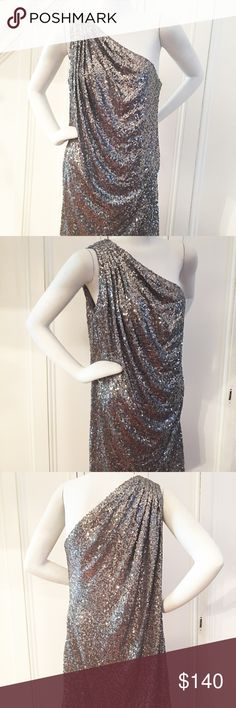 "Badgley Mischka Sequin Dress BADGLEY MISCHKA silver sequin one shoulder dress. Cinched, draped detail on right shoulder. In great condition. Measurements: Bust 40""; Waist 44""; Length 35"". Side zipper. Size Large. Badgley Mischka Dresses One Shoulder"