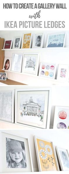 Gallery Wall Picture Ledge Ideas How to create a gallery wall with Ikea Mosslanda Picture Ledges_ Display all your favourite prints, photos and pictures easily with a picture ledge. You can swap and move them easily. #Gallery #Wall #Pictures #Wallart #Pri