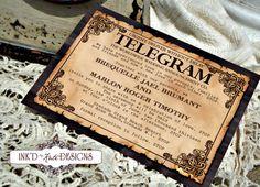 Vintage Telegram Message Wedding Invitation. love vintage. unique idea.