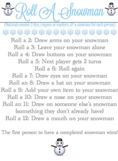 BLISSFUL ROOTS: Roll-A-Snowman {Game & Printable} - She has these for seasons and holidays on her site! So fun!!