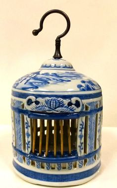 Village Scenes Blue and White Bird Cage Birdcage Decor, Birdcages, Beautiful Birds, Bird Houses, Cricket, Candle Holders, Blue And White, Creative, Crafts