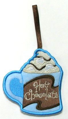 Towel Topper - Hot Chocolate (In-the-Hoop) Back Pieces, Border Design, Machine Embroidery Designs, Hot Chocolate, Hoop, Towel Holders, Christmas Ornaments, Holiday Decor, Projects