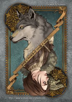 First series of Game of Thrones cards by Orpheelin | Nymeria and Arya