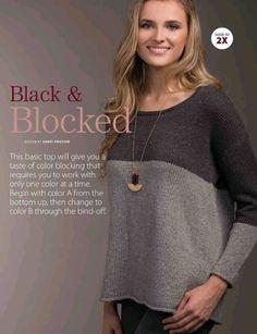 Двухцветный джемпер Black & Blocked Журнал: Creative Knitting, осень 2017. Дизайнер: Sandi Prosser.