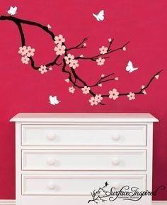 Nursery Wall Decals Nursery Cherry Blossom With Butterflies Vinyl Wall Decal. $65.00, via Etsy.