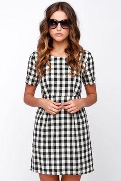 Good Girl Gone Plaid Black and Ivory Plaid Dress at Lulus.com!