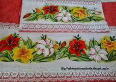 pintura em tecido toalhas de banho