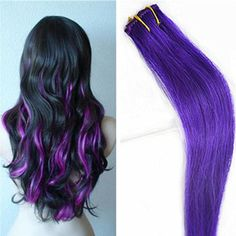 Remy human hair clip in extensions mixed color for highlight purple clip in hair extensions human hair remy hair toupe highlight 1pcs pmusecretfo Images