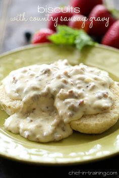 Biscuits with Country Sausage Gravy from chef-in-training.com …This recipe is absolutely divine! A perfect filling breakfast that is full of flavor and the whole family will love!