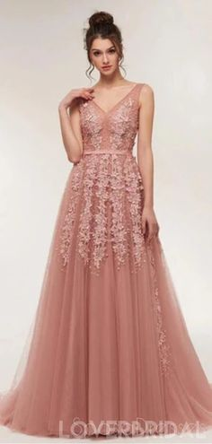 Dusty Pink V Neck Lace Beaded Long Evening Prom Dresses, Cheap Custom Sweet 16 Dresses, 18521 Dusty Pink Dresses, Cheap Formal Dresses, Cheap Homecoming Dresses, Elegant Prom Dresses, Pink Prom Dresses, Sweet 16 Dresses, Prom Dresses Online, Sweet Dress, Prom Party Dresses