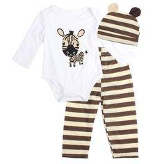 Infant Toddler Newborn Baby Brown Giraffe Print Jumpsuit Romper Hat 2PC NB-12M