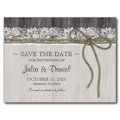 Rustic Wedding Save The Date Postcard With Lace