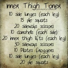 Inner Thighs: Side lunges, plie squats, sideways scissors, and inner thigh lifts. Fitness Motivation, Fitness Diet, Health Fitness, Fitness Workouts, Fitness Fun, Quick Workouts, Daily Workouts, Exercise Motivation, Group Workouts