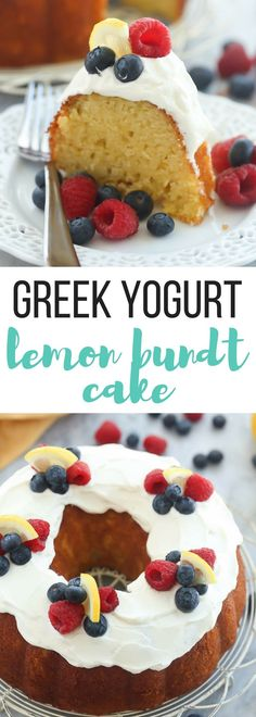 This Greek Yogurt Lemon Bundt Cake is so moist and packed with lemon flavor! It's made healthier with greek yogurt and is perfect topped with whipped cream and fresh berries. Includes how to recipe video. | Easter dessert | spring dessert | lemon dessert | cake recipe | easy recipe