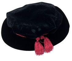 ae56c389f59ce Black Velvet Tudor Beefeater Style Maroon Tassel Bonnet -  DeluxeAdultCostumes.com Renaissance Hat