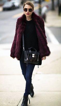 2 Cool Ways To Wear A Burgundy Fur Coat