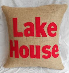 Burlap Pillow, Lake House Decor, Decorative Pillows, Applique Pillow, Recycled Felt from Plastic Water Bottles, Home Decor, Custom Pillow via Etsy