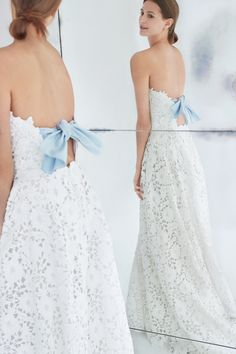 Floral strapless wedding dress with blue back bow
