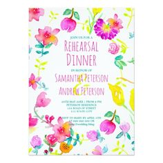 Boho bouquet floral watercolor rehearsal dinner card