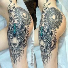tattos on hip and thigh mandala and wolf girl side