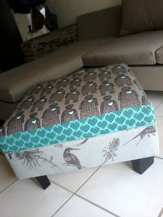 Ottoman: re-upholstered in clay and aqua prints. Princess and the pea style. Princess And The Pea, Diys, Ottoman, Aqua, Scrap, Old Things, Arts And Crafts, Prints, Furniture