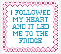 Fridge Love Funny Cross Stitch Pattern by scifistitches on Etsy, $4.00