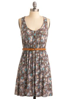 Switch It Up Dress - Blue, Floral, A-line, Tank top (2 thick straps), Casual, Summer, Multi, Brown, White, Short, Tis the Season Sale, Top Rated