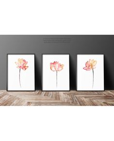 Lotus Print Set of 3 Abstract Floral Art Prints, Minimalist Watercolor Painting, Red Orange and Yellow Flower, Nursery Print Wall Decor