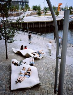 Seating in Hafencity, Hamburg, Germany - photo from architonic;  located in the former harbor zone south of the historical Speicherstadt (waterhouse district) bordering on the inner city