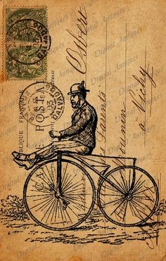 Vintage Bicycle  Post Cards Sepia Image Collage Sheet Digital Download , via Etsy.