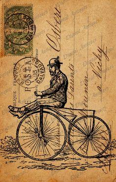 Vintage Bicycle  Post Cards Sepia Image Collage Sheet Digital Download , via Etsy.