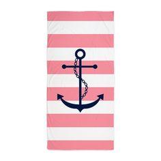 Blue Anchor Pink Stripes Beach Towel