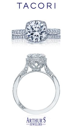 From our Dantela Collection, this unique setting creates a look that is a beautiful juxtaposition of modern, yet traditional; classic, yet unconventional. A princess cut center stone is flanked by pave-set diamonds. Tacori Dantela Style# 2620RDPTP