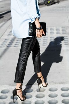 tie up leather pants | #style