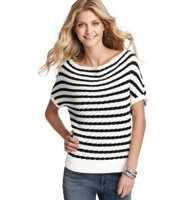 Textural Stripe Cotton Drape Neck Sweater - With a graceful drape neck and cute textured stripes, this cotton wedge style is a cozy must-have. Drape neck. Short dolman sleeves. Ribbed cuffs and hem.