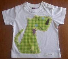 camiseta patchwork perro verde  camiseta de algodón 100%,tejido patchwork aplicación