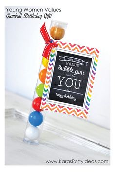 LDS Young Women Bubble Gum Birthday Tag