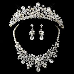 Stunning Pearl and Crystal Bridal Tiara and Matching Jewelry Set--Affordable Elegance Bridal -