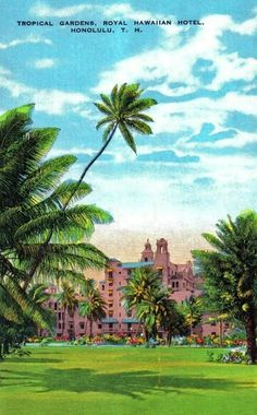 Vintage The Royal Hawaiian Hawaii Vintage, Vintage Hawaiian, Posters Vintage, Vintage Postcards, Oahu Hawaii, Kauai, Hawaii Pictures, Pink Palace, Travel Illustration