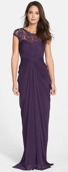 Women's Adrianna Papell Lace Yoke Drape Gown