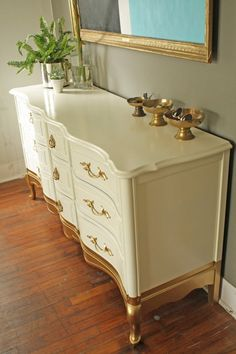 Portfolio: Gold Dipped French Provincial Dresser (Custom Order ONLY) Gold Furniture, French Furniture, Refurbished Furniture, Paint Furniture, Repurposed Furniture, Repainting Furniture, French Provincial Bedroom, French Provincial Furniture, Diy Dresser Makeover